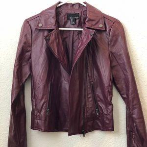 Burgundy/magenta leather jacket